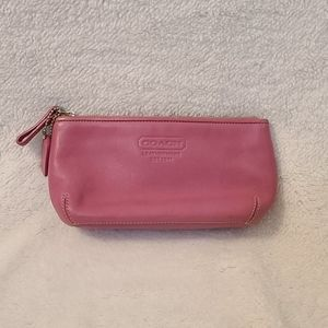 Coach leather pink cosmetic bag